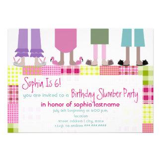 Girls Birthday Slumber Party Sleepover Plaid Custom Announcement