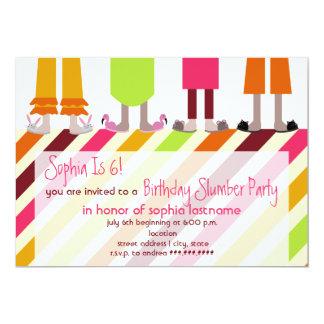 "Girls Birthday Slumber Party Sleepover Stripes 5"" X 7"" Invitation Card"
