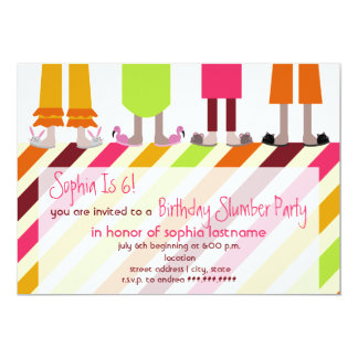Girls Birthday Slumber Party Sleepover Stripes Personalized Invitations