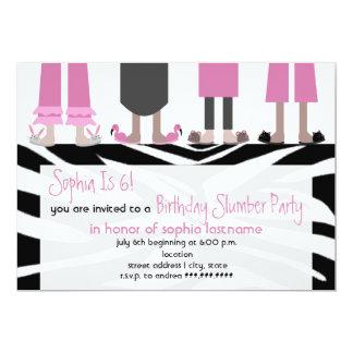 """Girls Birthday Slumber Party Sleepover Zebra 5"""" X 7"""" Invitation Card"""