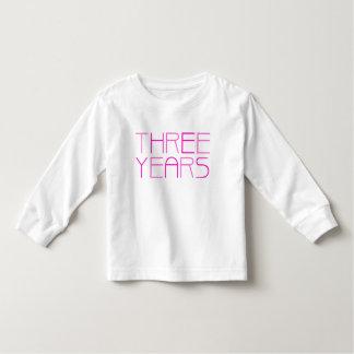 Girl's Birthday: Three Year Toddler T-shirt