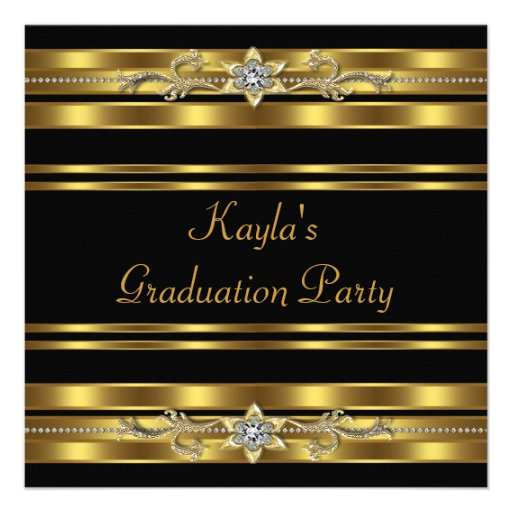 Girls Black and Gold Graduation Party Invite