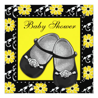 "Girls Black and Yellow Baby Shower Invitations 5.25"" Square Invitation Card"