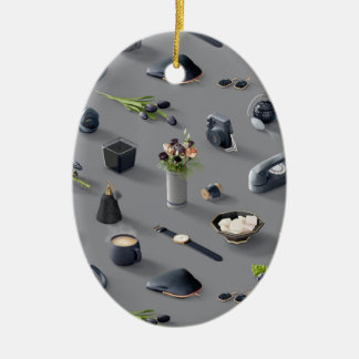 Girl's Black Dream Ceramic Oval Ornament