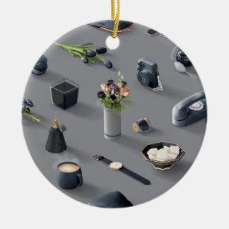 Girl's Black Dream Round Ceramic Ornament