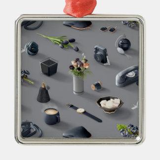 Girl's Black Dream Silver-Colored Square Ornament