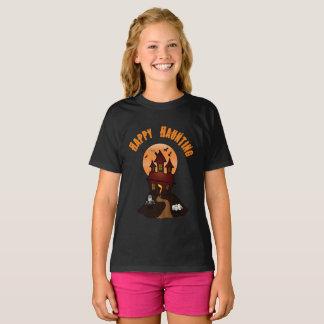 Girl's Black Happy Haunting Halloween Tshirt