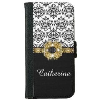 Girls black white damask gems name iPhone 6 wallet case