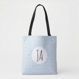 Girl's Blue Heart Doodle Pattern Monogram Simple Tote Bag