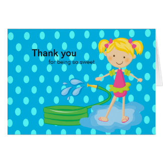Girls Blue Pool Party Hose Thank You Card