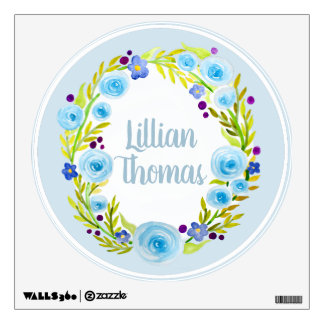 Girl's Blue Watercolor Flower Wreath Name Nursery Wall Decal