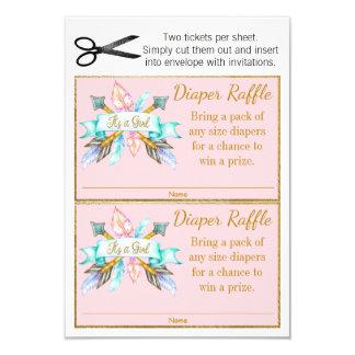 Girls Boho Feather Arrows Diaper Raffle Tickets Card