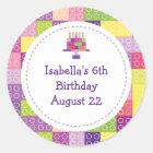 Girl's Building Bricks Blocks Birthday Favours Classic Round Sticker