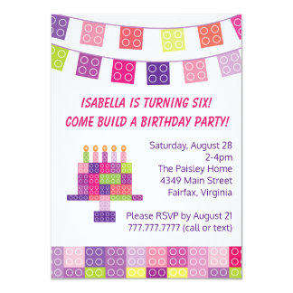 "Girl's Building Bricks Blocks Birthday Party 4.5"" X 6.25"" Invitation Card"