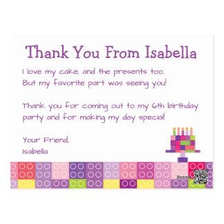 Girl's Building Bricks Blocks Birthday Thank You Postcard