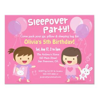 "Girls Bunny Sleepover Slumber Birthday Party 4.25"" X 5.5"" Invitation Card"