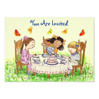 Girls & Butterflies Party Tea Invitation Cute