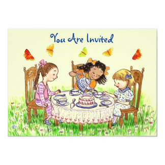 Girls & Butterflies Party Tea Invitation Cute