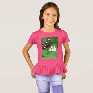 Girls' butterfly on flowers t-shirt