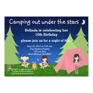 Girls Camping Birthday Invitation