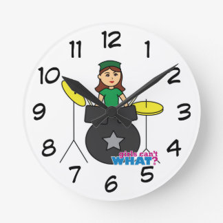 Girls Can't WHAT? ColorizeME Custom Design Round Clock
