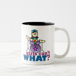 Girls Can't WHAT? Drummer Two-Tone Coffee Mug