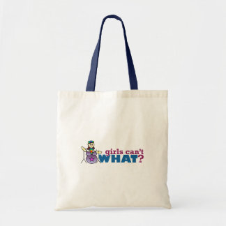 Girls Can't WHAT? Girl Drummer Logo Canvas Bag