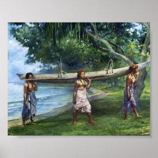 'Girls Carrying a Canoe' - John LaFarge Print