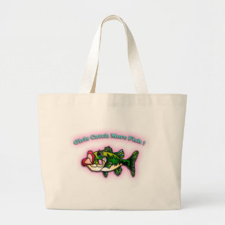 Girls Catch More Fish Large Tote Bag