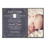 Girl's Chalkboard Photo Baptism Invitation
