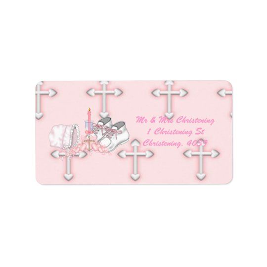 Girls Christening Wish Label