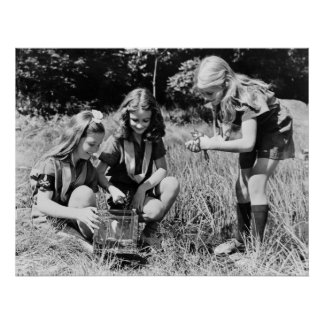 Girls Collecting Frogs, 1940s Poster