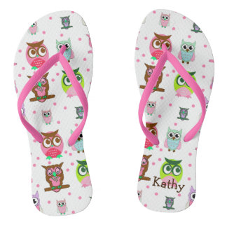 Girl's Colorful Cartoon Owl Flip Flops