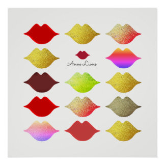 girls colorful lips / color mouths on white poster