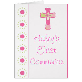 Girl's Communion or Christening Invitations Greeting Card