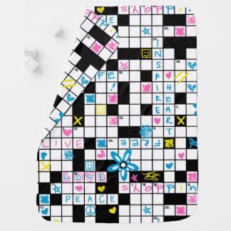 Girl's crossword puzzle baby blanket