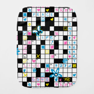 Girl's crossword puzzle burp cloth