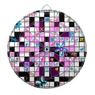 Girl's crossword puzzle dartboard