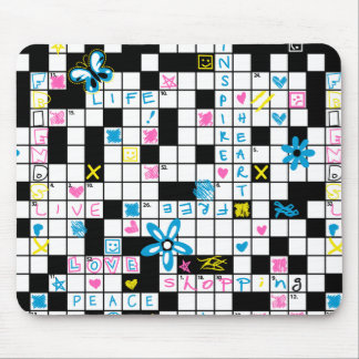 Girl's crossword puzzle mouse pad