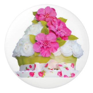 Girls Cup Cake Ceramic Knob