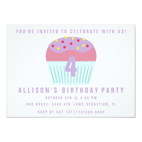 Girls Cupcake Four 4th Birthday Party Invite