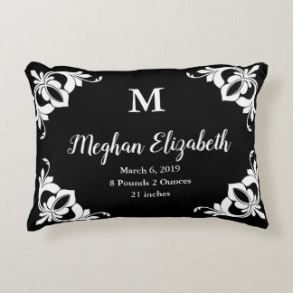 Girl's Custom Monogram and Name Black and White Accent Pillow