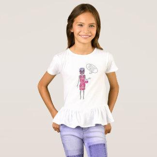 Girls Custom Text Rose Candy Skull Skeleton T-Shirt