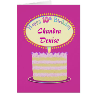 Girls Cute 10th Birthday Personalize It Card