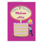 Girls Cute 7th Birthday - Personalize It Card
