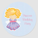 Girl's cute blue princess birthday party stickers