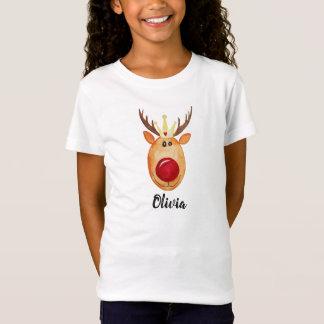 Girl's Cute Christmas Princess Rudolph with Name T-Shirt