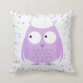 Girl's Cute Confetti Purple Owl Pillow