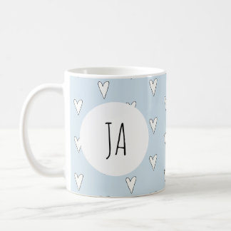 Girl's Cute Heart Doodle Pattern Monogram Simple Coffee Mug