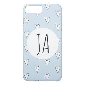 Girl's Cute Heart Doodle Pattern Monogram Simple iPhone 8 Plus/7 Plus Case